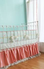 nursery beddings coral and aqua medallion crib bedding with