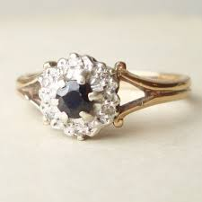 antique gold engagement rings vintage sapphire engagement ring diamond ring 9k gold ring size