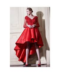 red a line high low wedding dresses with sleeves v neck short