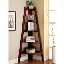 decorating charming brown wooden corner ladder bookshelf on