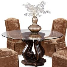 Wooden Base For Glass Dining Table Curving Brown Wooden Base With Glass Top Combined With