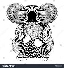drawing zentangle koala coloring page shirt stock vector 334114376