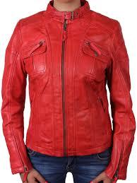 women red leather biker jacket tamana brandslock