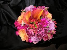 Purple Carnations Bridal Bouquet Designed In Purple Hues Like A Sunset Purple