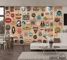 wooden wall 3d retro wall signs living room wall murals