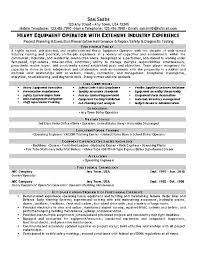 Assembly Resume Sample by Equipment Operator Resume Example Resume Examples