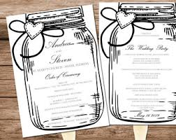 jar wedding programs jar program etsy