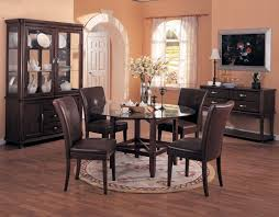 modern dining room rugs black round stained wooden dining table