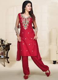 resham embroidery in jaal work makes indian clothing charming red aari work poly cotton salwar suit indian clothes i like