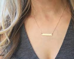 personalized name bar necklace gold bar necklace etsy