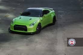 widebody muscle cars green hulk widebody nissan gtr from jotech on hre wheels top front