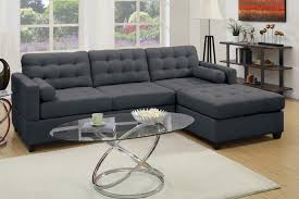 Upholstery Sectional Sofa Poundex F7587 2 Pc Manhattan Collection Reversible Slate Black