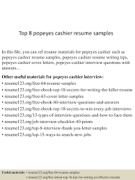 Retail Cashier Resume Top8popeyescashierresumesamples 150528084937 Lva1 App6892 Thumbnail 4 Jpg Cb U003d1432803028