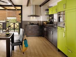 cuisine verte et marron modern green kitchen cuisine moderne colorée vert anis deco