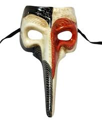 venetian mask orange white nose bird beak masquerade venetian mask plague