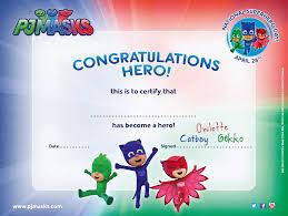http pjmasks hero certificate pj masks printables
