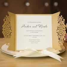 formal gold laser cut wedding invitation cards with band ewts013 as