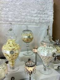 white bling and a touch of coral wedding party ideas candy