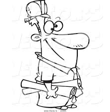 vector of a cartoon construction manager coloring page outline