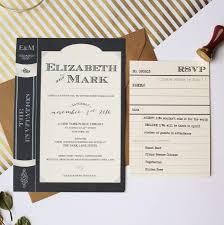 library book wedding invitation suite by vanilla retro stationery