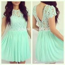 2015 girly prom dress mint green short sleeves lace top flower
