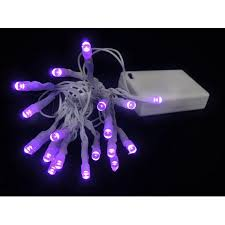 set of 20 battery operated purple led wide angle lights