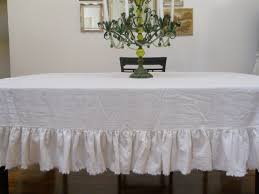 amazon com off white linen table cloth with frayed ruffle home
