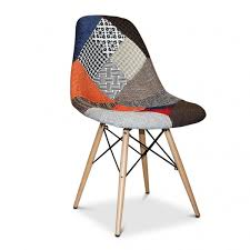 Patchwork Upholstered Furniture - eames eiffel armless patchwork wood base chair replica