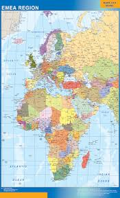 Middle East And Europe Map by Our Emea Region Map Wall Maps Mapmakers Offers Poster