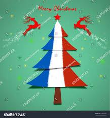 Pine Tree Flag France Flag Christmas Tree Greeting Card Stock Illustration
