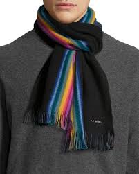 paul smith rainbow stripe wool scarf in black for men lyst