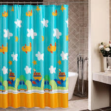 Kids Fabric Shower Curtain - blue sky with white clouds and planes shower curtains for cute kids