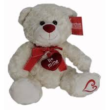 be mine teddy 10 plush white be mine teddy with heart on foot walmart