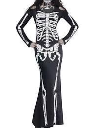 black skeleton print halloween bodycon maxi dress free shipping