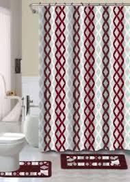 Bathroom Shower Curtain And Rug Set 15pc Burgundy Gray Lattice Printed Bathroom Shower Curtain
