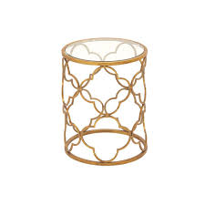 Brass Accent Table Brass Gold Accent Table With Quatrefoil Trellis Design Frame