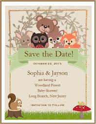 save the date baby shower woodland forest animals baby shower save the date cards pavia