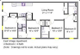 four bedroom floor plans east apartments