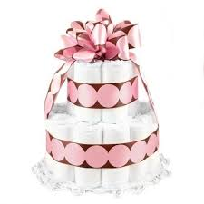 Amazon Com New Baby Diaper Cake 2 Layer Pink Polka Dots On