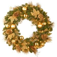 buy 18 pre lit wreath from bed bath beyond