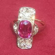 art deco pink sapphire and diamond ring anderson jones ltd