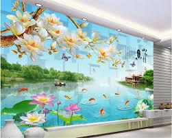 popular mountain wall murals buy cheap mountain wall murals lots beibehang high wall murals wallpaper jiangnan mountain water environment lotus landscape wall papel de parede 3d