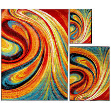 modern rugs 3 piece set contemporary area rug multi color accent