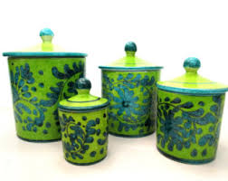 green canister sets kitchen pottery canister etsy