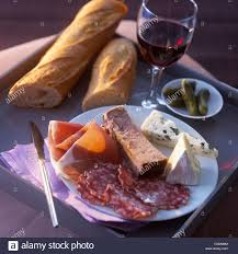 Cold Dinner T V Dinner With A Plate Of Cold Cuts And Cheese And A Glass Of Red