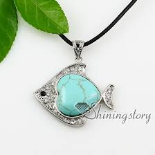 real turquoise stone necklace images Fish heart turquoise glass opal semi precious stone shining jpg