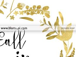 fall in love printable fall decor featuring gold flowers and