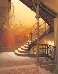 interior excelent art nouveau staircase ideas design with wall