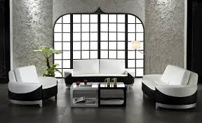 ultra modern white and black bonded leather 3 piece sofa set