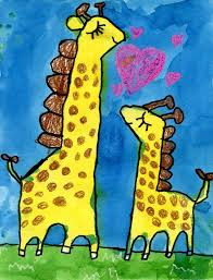 mother giraffe and baby painting art projects for kids